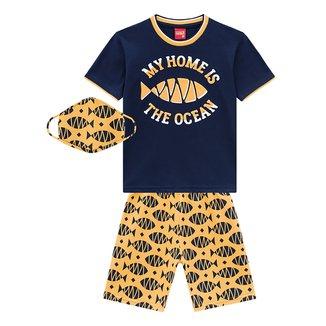 Conjunto Infantil Kyly Camiseta Ocean + Bermuda c/ Máscara Masculino