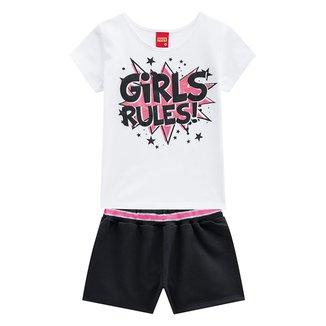 Conjunto Infantil Kyly Camiseta + Short Girls Rules Feminino