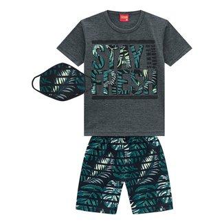 Conjunto Infantil Kyly Camiseta Stay Fresh + Bermuda c/ Máscara Masculino