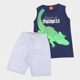 Conjunto Infantil Kyly Regata E Bermuda Moletom Crocodiles Masculino
