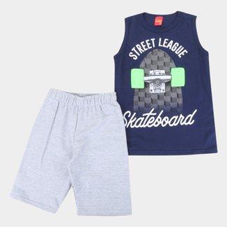 Conjunto Infantil Kyly Regata E Bermuda Moletom Skateboard Masculino
