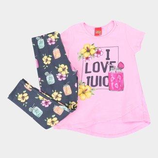 Conjunto Infantil Kyly Suco Camiseta + Legging Feminino