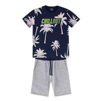 Conjunto Infantil Lemon Camiseta Coqueiros + Bermuda Moletom Masculino