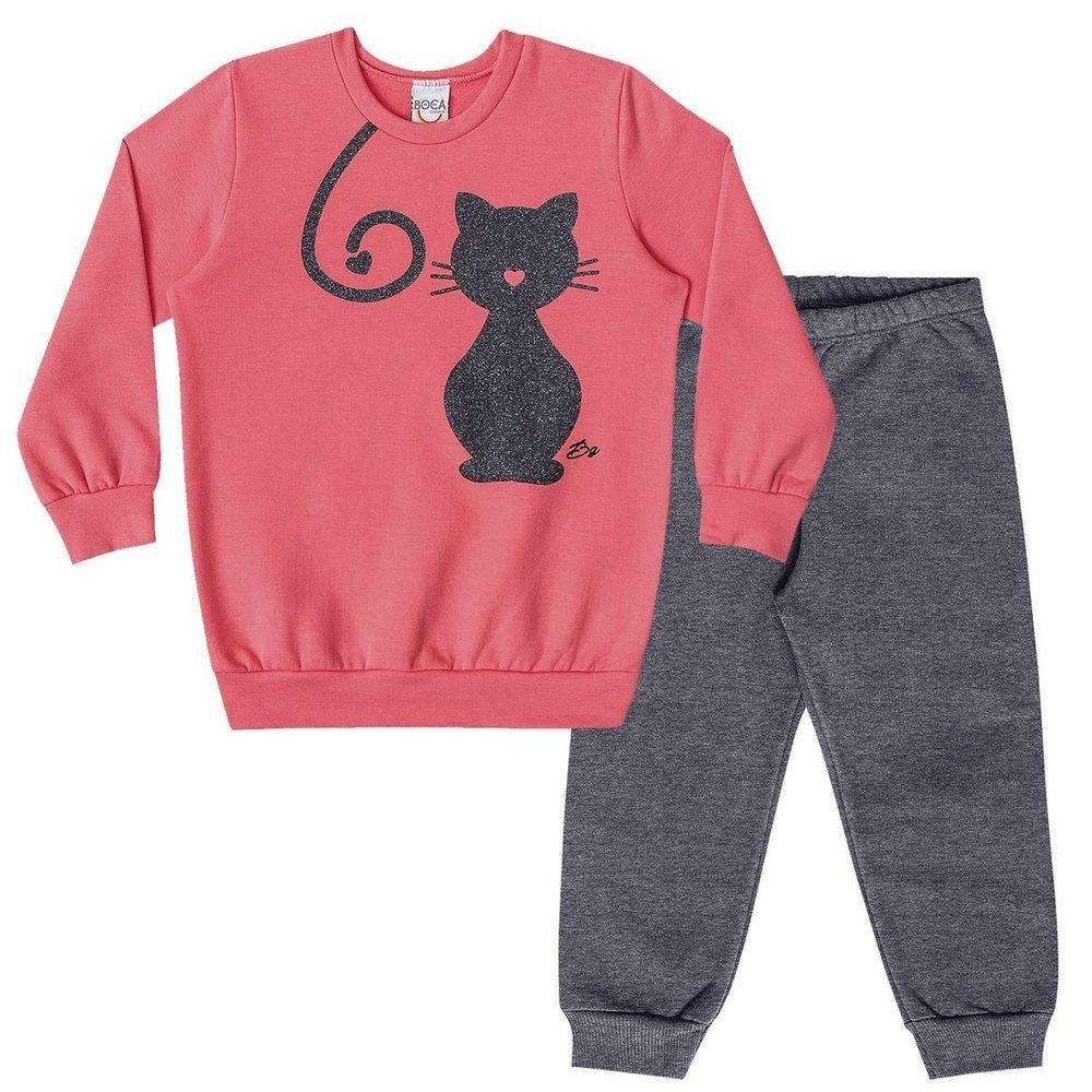 Conjunto Infantil Longo Boca Grande Casaco Cat e Calça em Moletom Feminino  - Compre Agora  9f98fc22f34