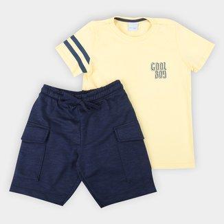 Conjunto Infantil Malwee Camiseta+Bermuda Moletinho Mescla Masculino