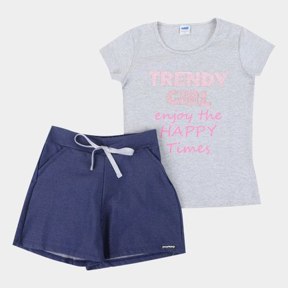 Conjunto Infantil Marlan Blusa+Shorts Molecotton Feminino