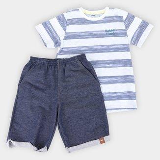 Conjunto Infantil Marlan Camiseta Listrada + Bermuda Malha Jeans Masculino