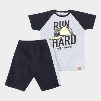 Conjunto Infantil Marlan Run Hard Camiseta + Bermuda Masculino