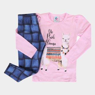 Conjunto Infantil Mia Kids Lhama Feminino