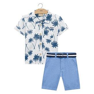 Conjunto Infantil Milon Camisa Tricoline + Bermuda Sarja Masculino