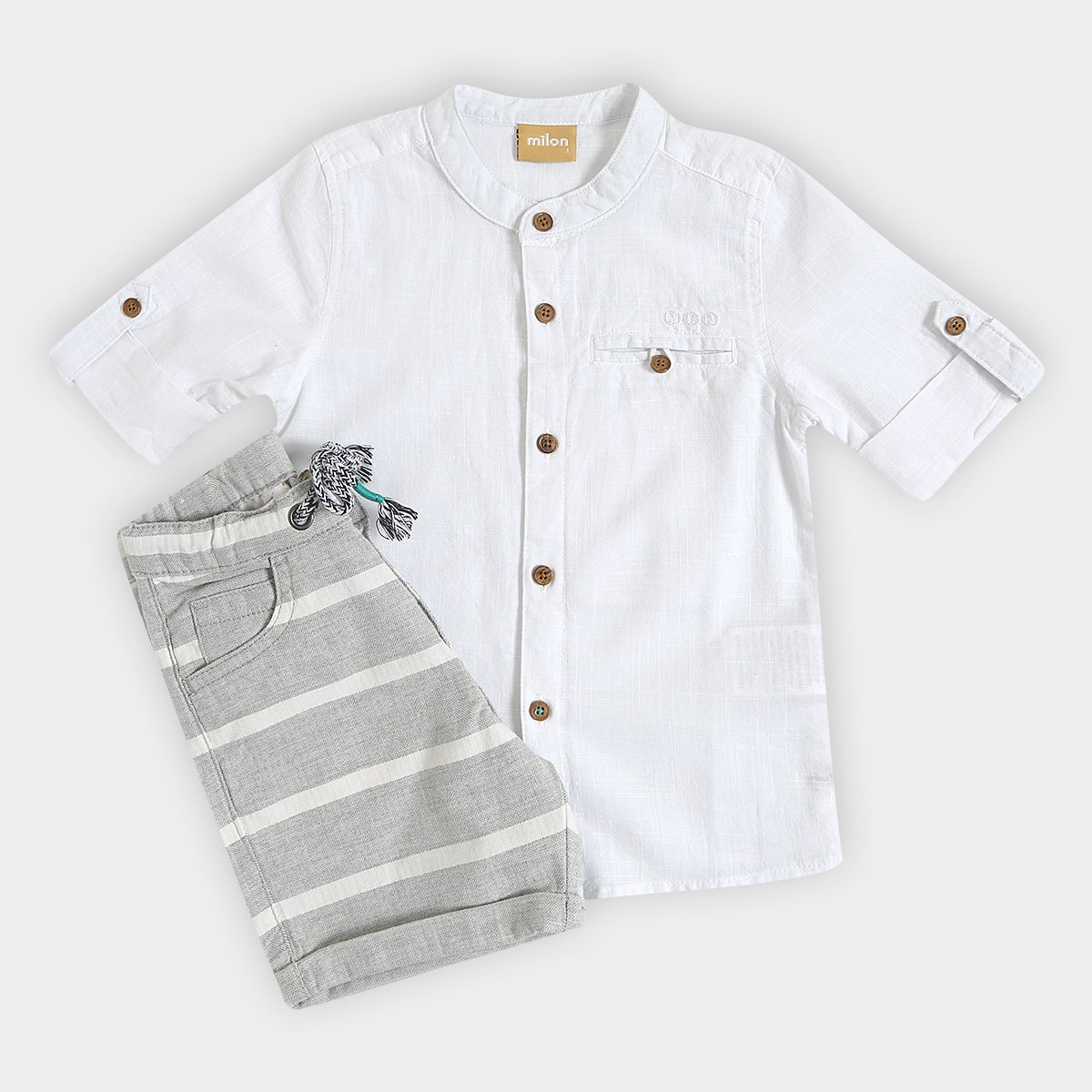 63c543b3399552 Conjunto Infantil Milon Camisa Tricoline e Bermuda Masculino - Branco