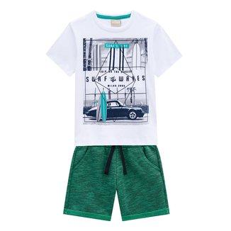 Conjunto Infantil Milon Camiseta E Bermuda Surf Waves Masculino