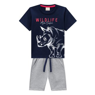 Conjunto Infantil Milon Camiseta E Bermuda Wild Life Safari Masculino