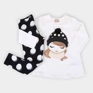 Conjunto Infantil Milon Cotton Poá c/ Pompom
