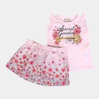 Conjunto Infantil Milon Floral Strass Feminino