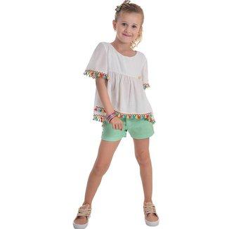 Conjunto Infantil Mrx Jeans Bata EmViscose Com Franja Feminino
