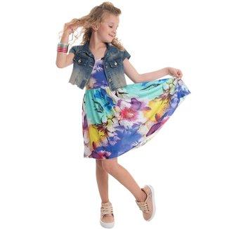 Conjunto Infantil Mrx Jeans Colete Jeans Cropped E Vestido Viscose Feminino
