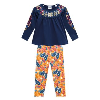 Conjunto Infantil Nanai Blusa E Legging Floral Feminino