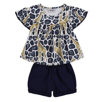Conjunto Infantil Nanai Blusa Girafas + Short Moletom Feminino