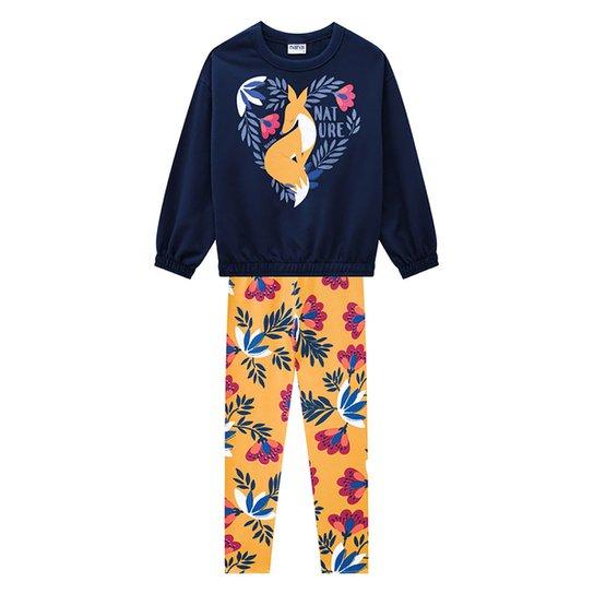 Conjunto Infantil Nanai Blusa Moletinho E Legging Floral Feminino - Marinho