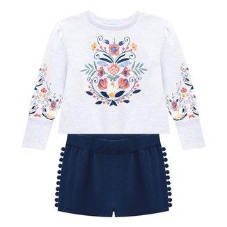 Conjunto Infantil Nanai Blusa Moletinho E Shorts Moletom Com Pompom Feminino
