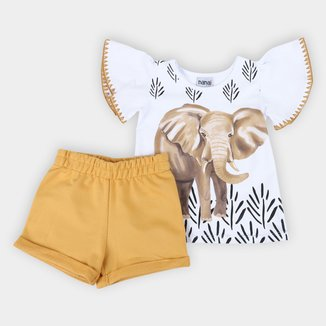 Conjunto Infantil Nanai Blusa +Shorts Moletom Elefantes Feminino