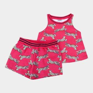 Conjunto Infantil Nanai Regata+Shorts Moletinho Leopardo Feminino