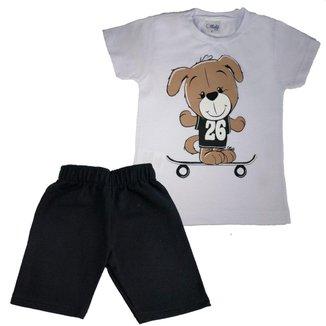 Conjunto Infantil Ollele Curto Verão Camiseta Bermuda Masculino