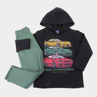 Conjunto Infantil Pipa Carros Capuz Masculino