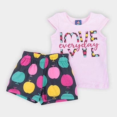 Conjunto Infantil Pipa Estampado Curto Feminino Feminino-Rosa