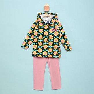 Conjunto Infantil Pipa Floral Capuz Feminino