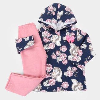 Conjunto Infantil Pipa Floral Longo Com Capuz Feminino