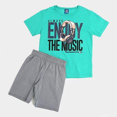 Conjunto Infantil Pipa Musica Camiseta + Bermuda Masculino