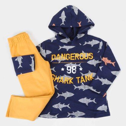 Conjunto Infantil Pipa Shark Capuz Masculino