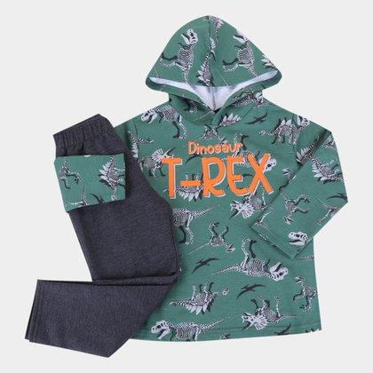 Conjunto Infantil Pipa T-Rex Com Capuz Masculino