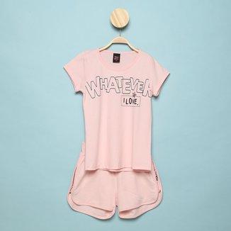 Conjunto Infantil Pulla Bulla Blusa+ Shorts Moletinho Feminino