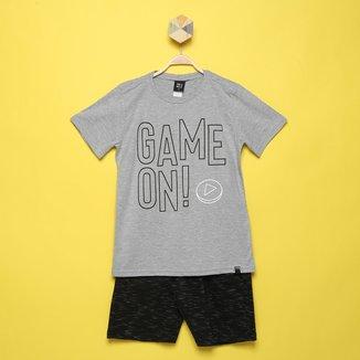 Conjunto Infantil Pulla Bulla Camiseta+Bermuda Moletom Jet Game Masculino