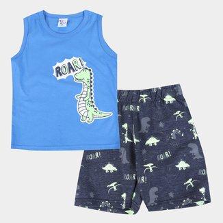 Conjunto Infantil Pulla Bulla Regata+Bermuda Moletinho Dino Masculino