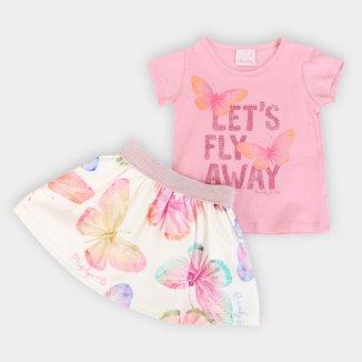 Conjunto Infantil Quimby Blusa Cotton Saia Short Jacquard Let's Fly Away