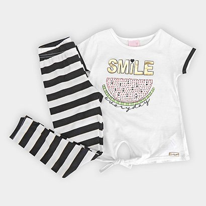 Conjunto Infantil Quimby Blusa Malha Calca Cotton