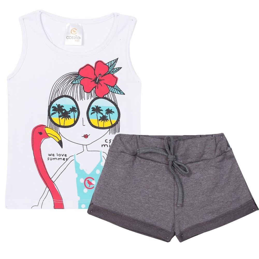 1d1c1b22bb Conjunto Infantil Regata com Estampa e Shorts em Moletom Feminino ...