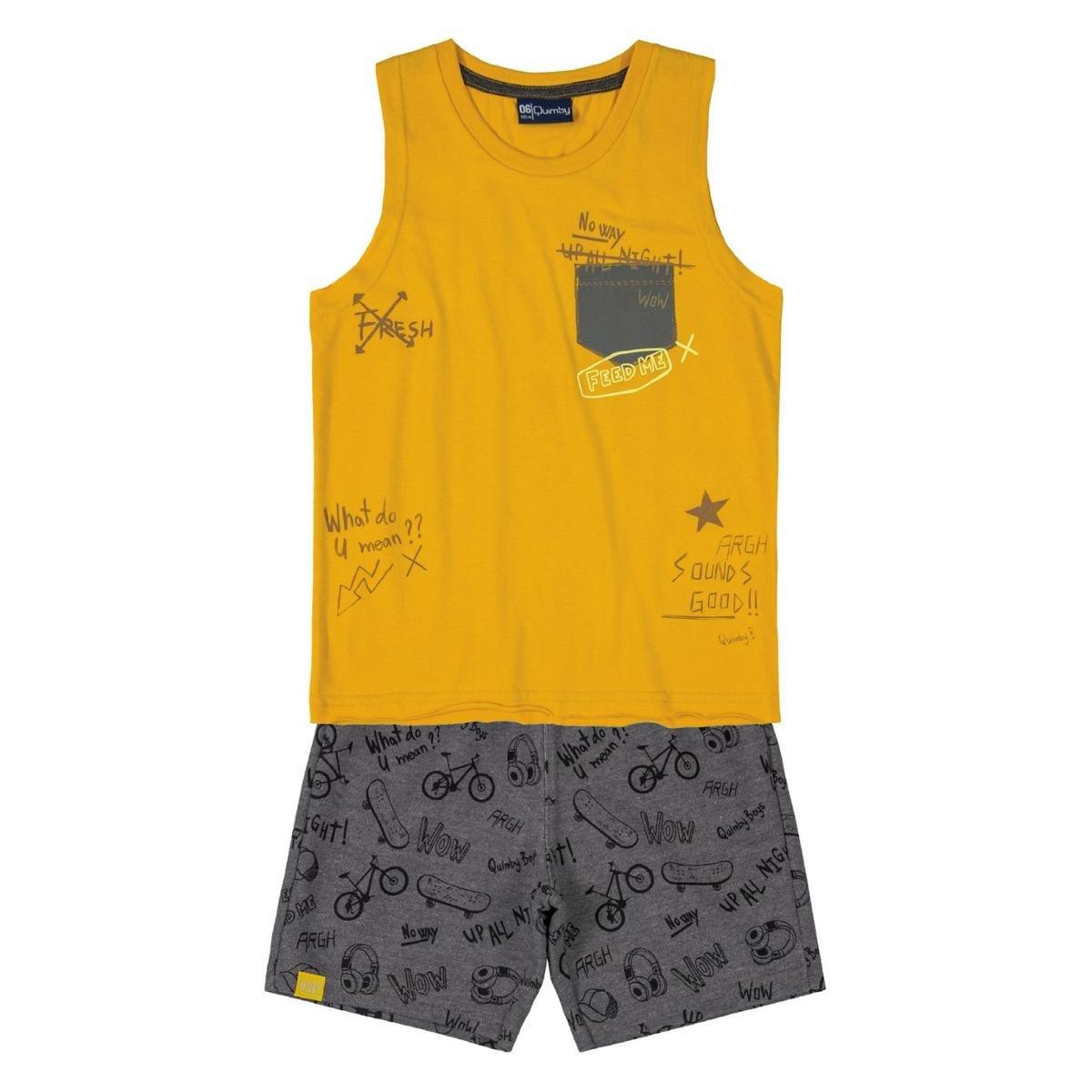 Conjunto Infantil Regata E Bermuda Quimby Masculino - Amarelo