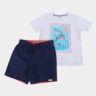 Conjunto Infantil Rovitex Camiseta+Bermuda Tectel Masculino
