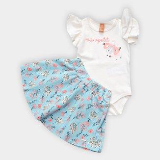 Conjunto Infantil Up Baby Body C/ Saia Floral