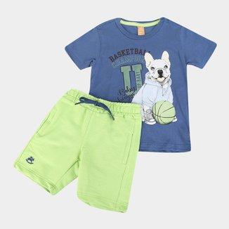 Conjunto Infantil Up Baby Camiseta Malha E Bermuda Moletom Basketball Champion