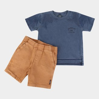 Conjunto Infantil Up Baby Camiseta Malha E Bermuda Sarja Masculino