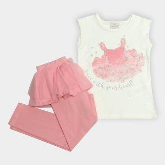 Conjunto Infantil Up Baby Estampa Bailarina Detalhe Babado Feminino