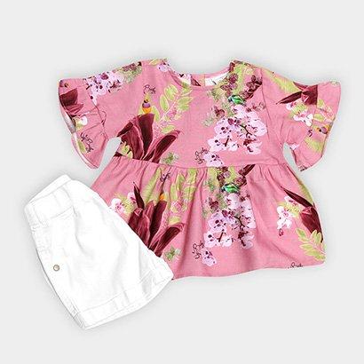 Conjunto Infantil Up Baby Floral Feminino Feminino-Rosa