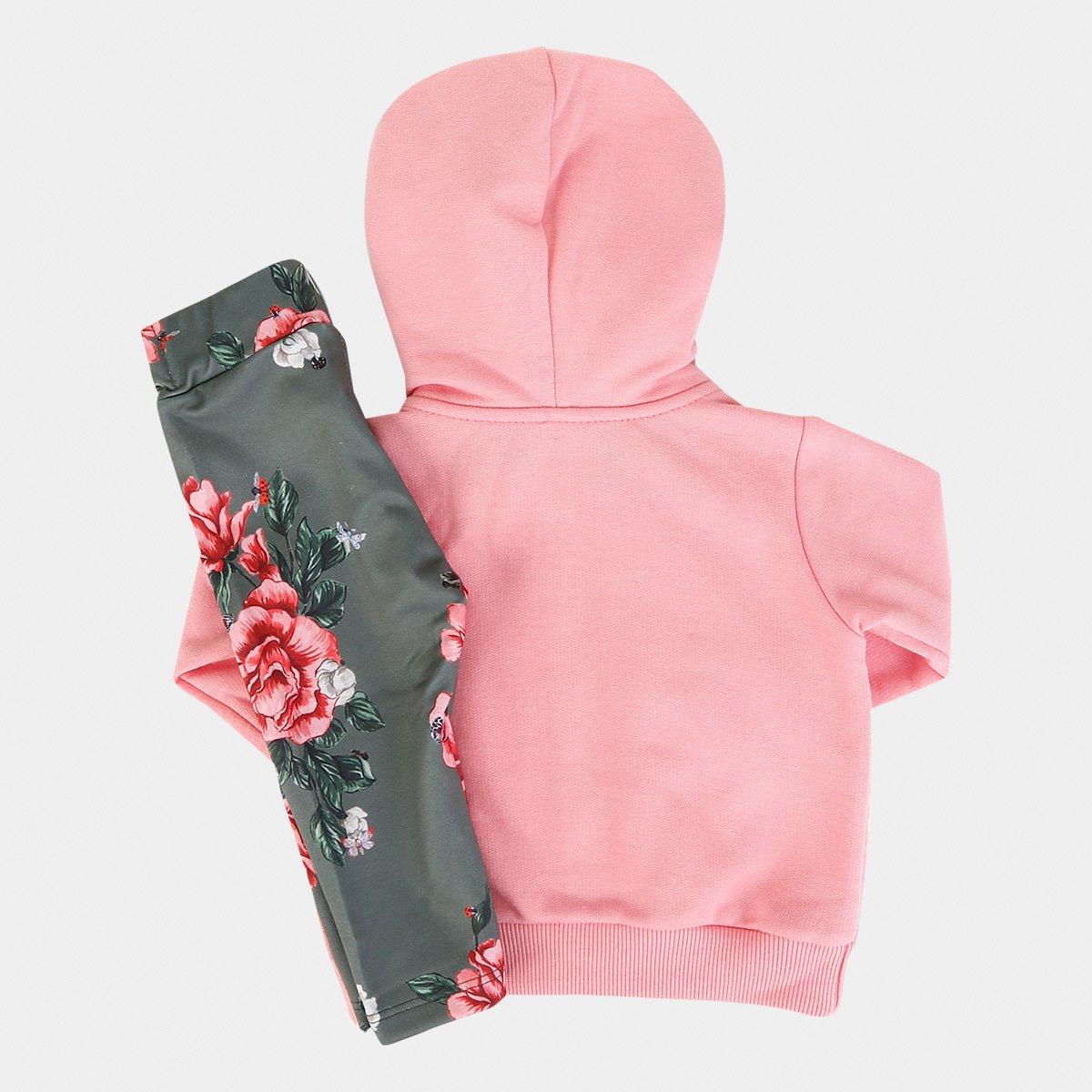 Conjunto Infantil Up Baby Floral Matelassê Feminino