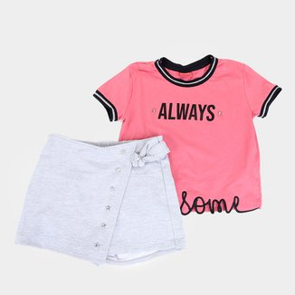 Conjunto Juvenil Amora Always Blusa Cropped + Short Saia Feminino